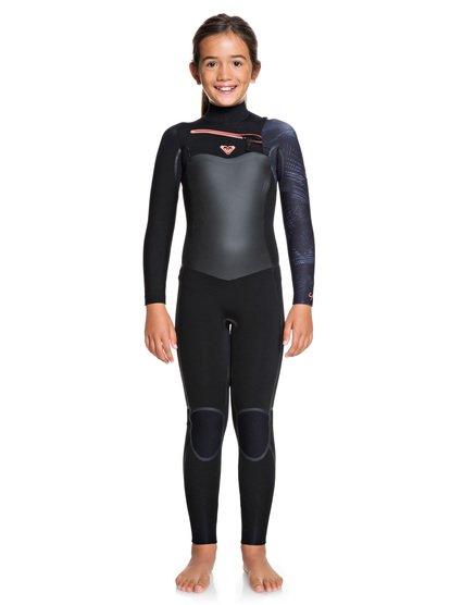 4/3mm Syncro Plus - Traje de Surf con Cremallera en el Pecho para Chicas 8-16 - BLACK/ GUN METAL (xkgk) - Roxy
