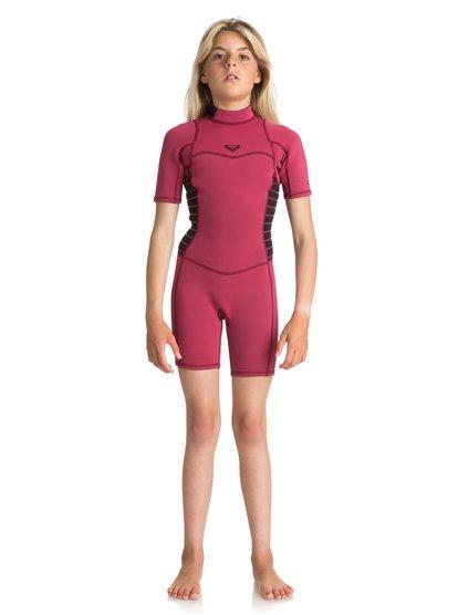 2/2mm Syncro Series - Traje de surf de primavera FLT con manga corta y cremallera en la espalda para Chicas 8-16 - Rojo - Roxy