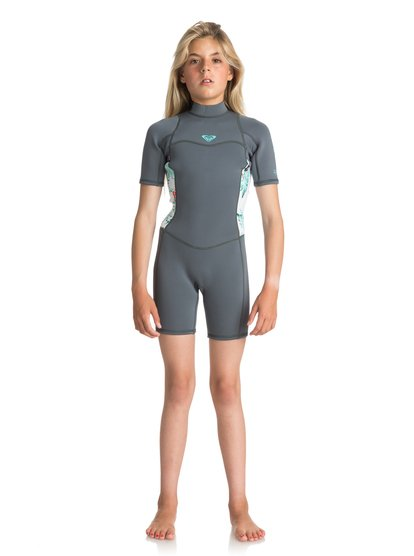 2/2mm Syncro Series - Traje de surf de primavera FLT con manga corta y cremallera en la espalda para Chicas 8-16 - Azul - Roxy