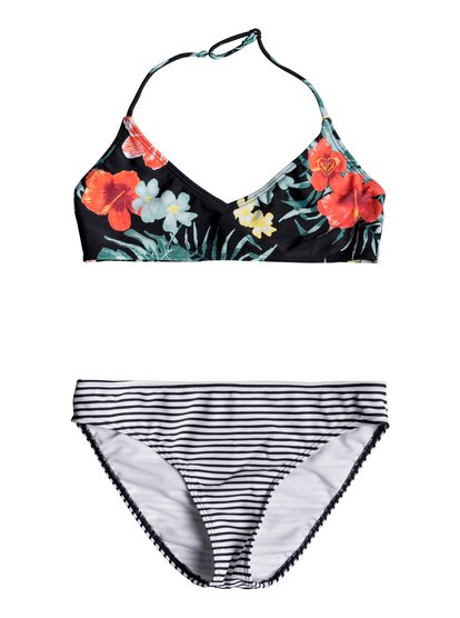 Happy Spring - Conjunto de Bikini Triangular Bralette para Chicas 8-16 - Negro - Roxy