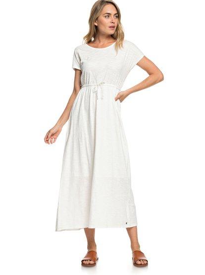 Wavelines - Vestido Extra Largo de Manga Corta para Mujer - Blanco - Roxy
