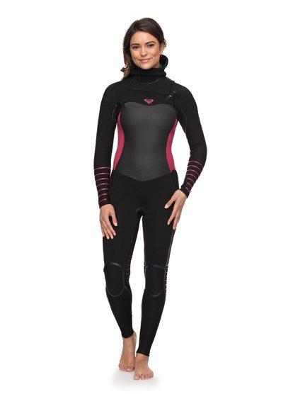 5/4/3mm Syncro Plus - Combinaison de surf à capuche avec zip poitrine pour Femme - Black / Sangria - Roxy