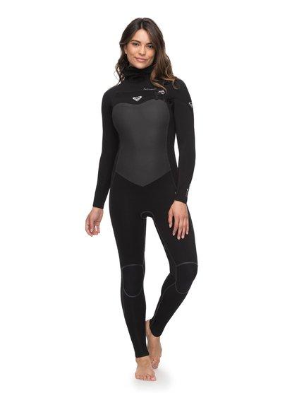 5/4/3mm Performance - Combinaison de surf à capuche avec zip poitrine pour Femme - Noir - Roxy