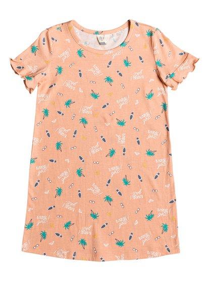 Second Sun - Vestido-Camiseta de Manga Corta para Chicas 2-7 - Naranja - Roxy