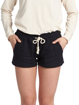 록시 Roxy Oceanside Linen Beach Shorts,TRUE BLACK (kvj0)
