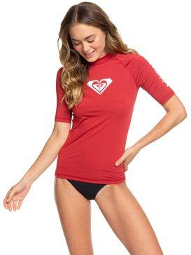 록시 하트로고 반팔 래쉬가드(UPF 50) Roxy Whole Hearted Short Sleeve UPF 50 Rash Guard,DEEP CLARET