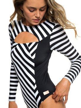 록시 원피스 수영복 스트라이프 올인원 래쉬가드 Roxy POP Surf Long Sleeve UPF 50 One-Piece Swimsuit,TRUE BLACK VICTORIA STRIPES SW (xkkw)