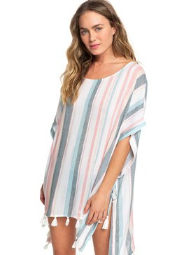 록시 Roxy Make Your Soul Poncho Beach Dress,BRIGHT WHITE S RETRO VERTICAL (wbb4)