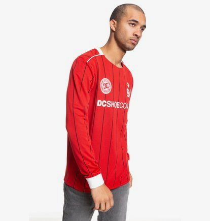 Clothing & Accessories Emmonsdale - Long Sleeve Football Jersey for Men - Red - DC Shoes