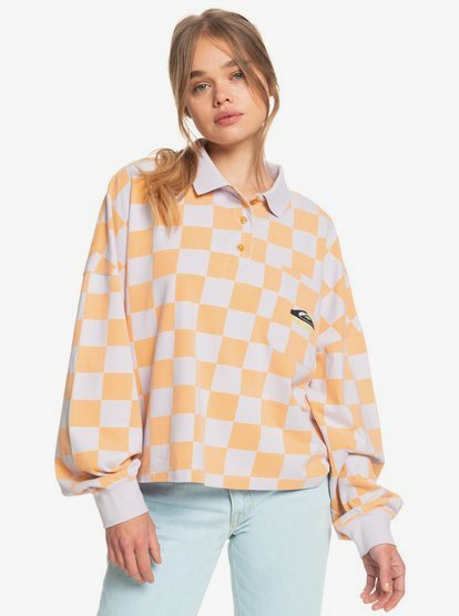 Clothing & Accessories Worldwide View - Organic Long Sleeve Polo Shirt for Women - Orange - Quiksilver