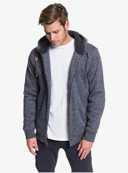 Cypress Keller - Sweat à capuche zippé doublé en matière sherpa pour Homme - Bleu - Quiksilver