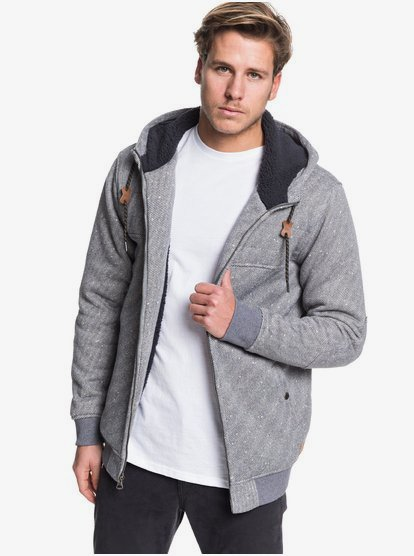 Cypress Keller - Sweat à capuche zippé doublé en matière sherpa pour Homme - Noir - Quiksilver