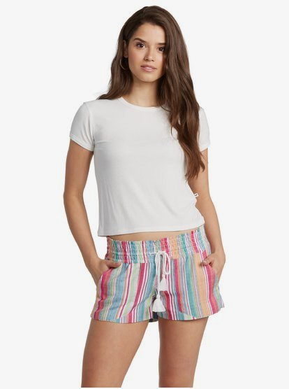 Linen Shorts for Women. Features include: Fabric: Lightweight yarn-dyed cotton fabric, Fit: Beachy fit, Inseam: 6.3 cm / 2.5\\\