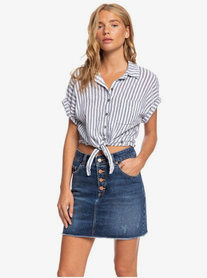 Women\\\'s high waist denim skirt featuring cotton fabric, high rise waist with visible buttons on fly, and finished with raw-edge details.