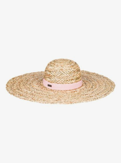 Women\\\'s straw sun hat featuring woven straw with gros-grain tape, flat, wide brim, and finished with a metal ROXY plaque.