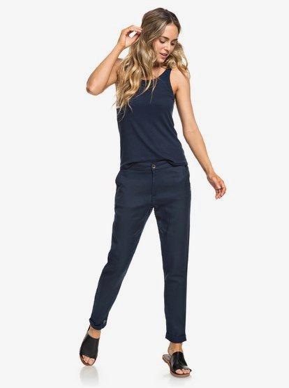 Girly Men - Pantalón con Corte Reducido Hacia el Bajo para Mujer - Azul - Roxy