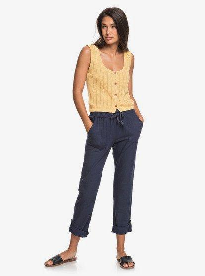 On The Seashore - Pantalon élastique en lin pour Femme - Bleu - Roxy