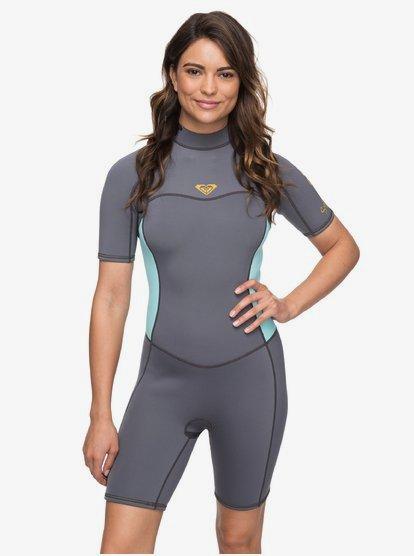 2/2mm Syncro Series - Traje de surf de primavera FLT con manga corta y cremallera en la espalda para Mujer - Verde - Roxy