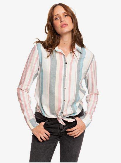 Suburb Vibes - Chemise manches longues avec nœud sur le devant pour Femme - Blanc - Roxy