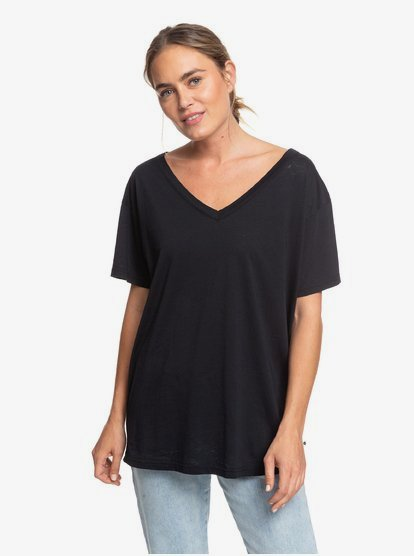 Great To Chill - T-shirt col V pour Femme - Noir - Roxy