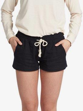 록시 비치 반바지 Roxy Oceanside Linen Beach Shorts,TRUE BLACK (kvj0)