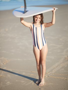 록시 여아용 원피스 수영복 One-Piece Swimsuit,CADMIUM ORANGE PONG STRIPES S (nhj3)