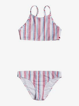 록시 여아용 8-16 비키니 수영복 세트 Lake Of Stars Crop Top Bikini Set,BLUE HEAVEN STARS STRIPES S (blf3)