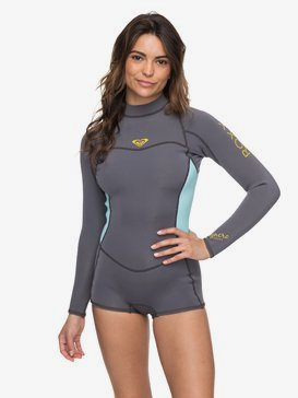 록시 네오프렌 서프 수트 Roxy 2/2mm Syncro Long Sleeve Back Zip FLT Springsuit,DEEP GREY/GLICER BLUE