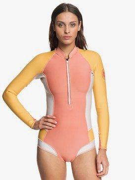 록시 원피스 래쉬가드 웻수트 Roxy 1mm POP Surf - Long Sleeve Front Zip Bikini Cut Shorty,TERRA COT/AMB YELLOW/PEACH BLU (xmym)