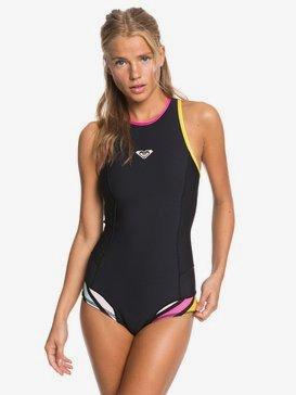 록시 뒷지퍼 수영복 Roxy 1mm POP Surf Back Zip Bikini Cut Shorty,BLACK (kvj0)