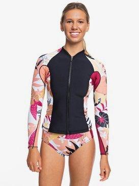 록시 원피스 래쉬가드 웻수트 탑 Roxy 1mm POP Surf Long Sleeve Front Zip Wetsuit Top,BLACK/TERRA COTTA