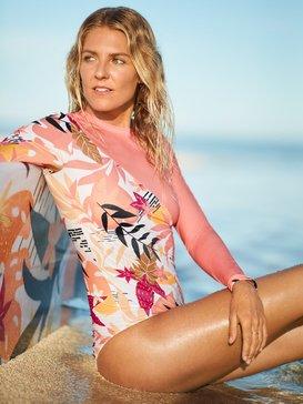 록시 Roxy POP Surf - Long Sleeve Zipped UPF 50 One-Piece Swimsuit for Women,BRIGHT WHITE NIRANTARA (xwkm)