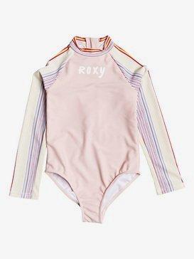 록시 2-7 여아용 원피스 래쉬가드 수영복 UPF 50 Kindness Long Sleeve One-Piece Swimsuit,BRIGHT WHITE FISH STRIPES S (wbb5)