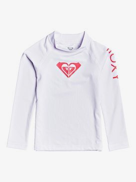 록시 2-7 여아용 래쉬가드 Roxy  Whole Hearted Long Sleeve UPF 50 Rashguard,BRIGHT WHITE (wbb0)