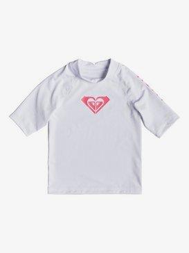 록시 2-7 여아용 반팔 래쉬가드 Roxy  Whole Hearted Short Sleeve UPF 50 Rashguard,BRIGHT WHITE (wbb0)