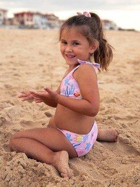록시 2-7  여아용 비키니 수영복 세트 Walea Heart Crop Top Bikini Set,SILVER PINK HIPOPO S (mfc8)
