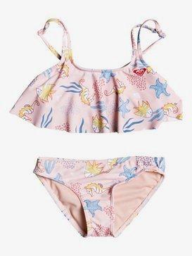 록시 2-7  여아용 비키니 수영복 세트 Walea Heart Flutter Bikini Set,SILVER PINK HIPOPO S (mfc8)