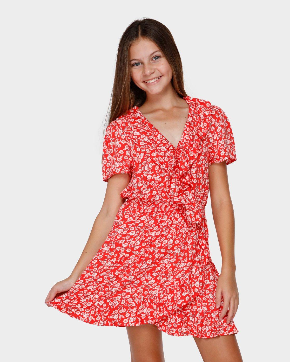 Teen Poppy Floral Wrap Dress