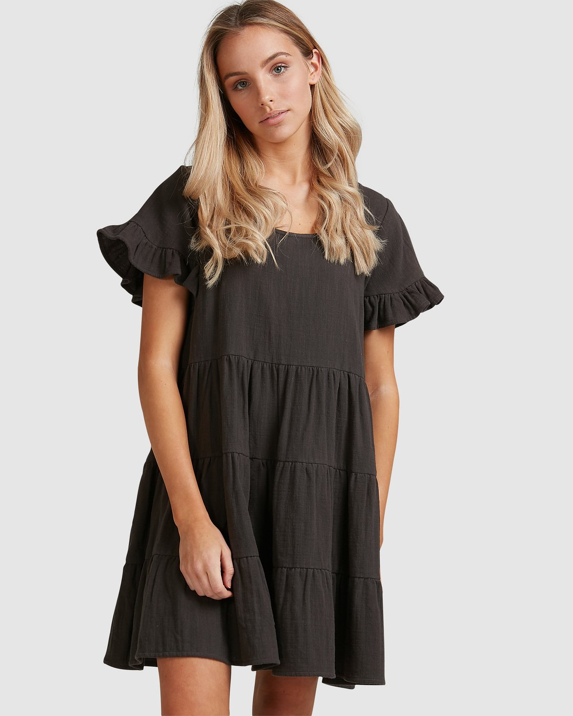 Woven Pixie Dress Slashed Pixie Dress Geometric Woven Dress