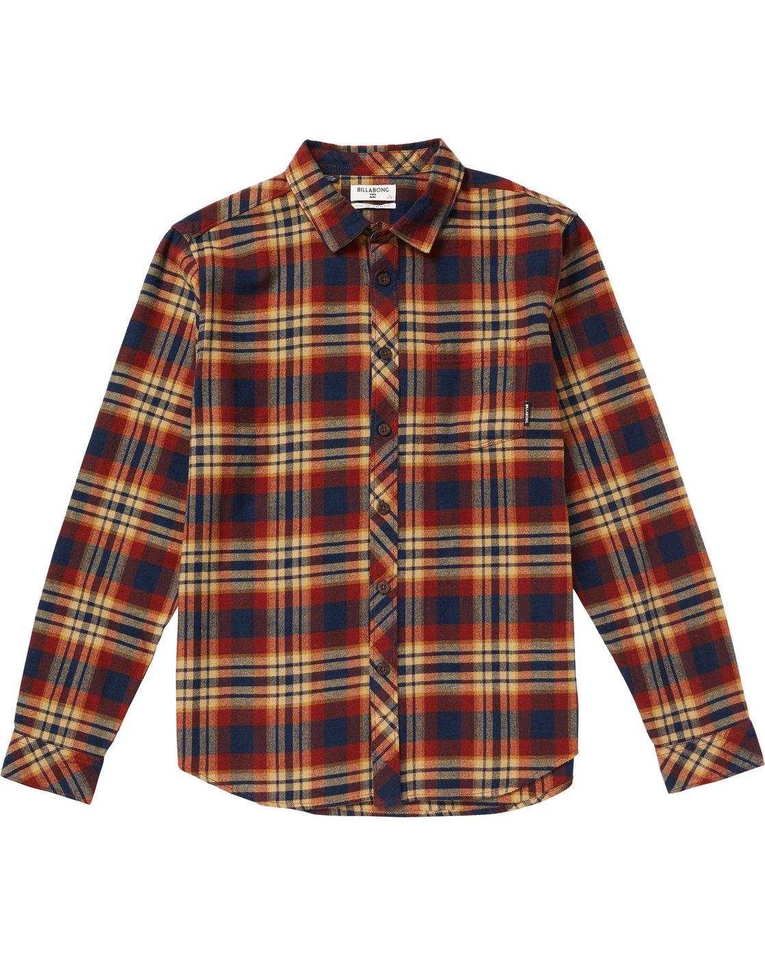 05aa4305e 0 Boys' Coastline Plaid Flannel Shirt Grey B532SBCO Billabong