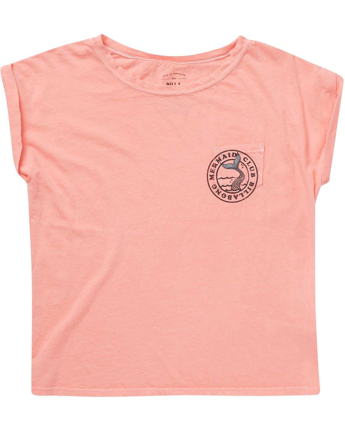 Billabong Girls Short Sleeve /'MERMAID ALL DAY/' Cotton Blend Graphic T-Shirt