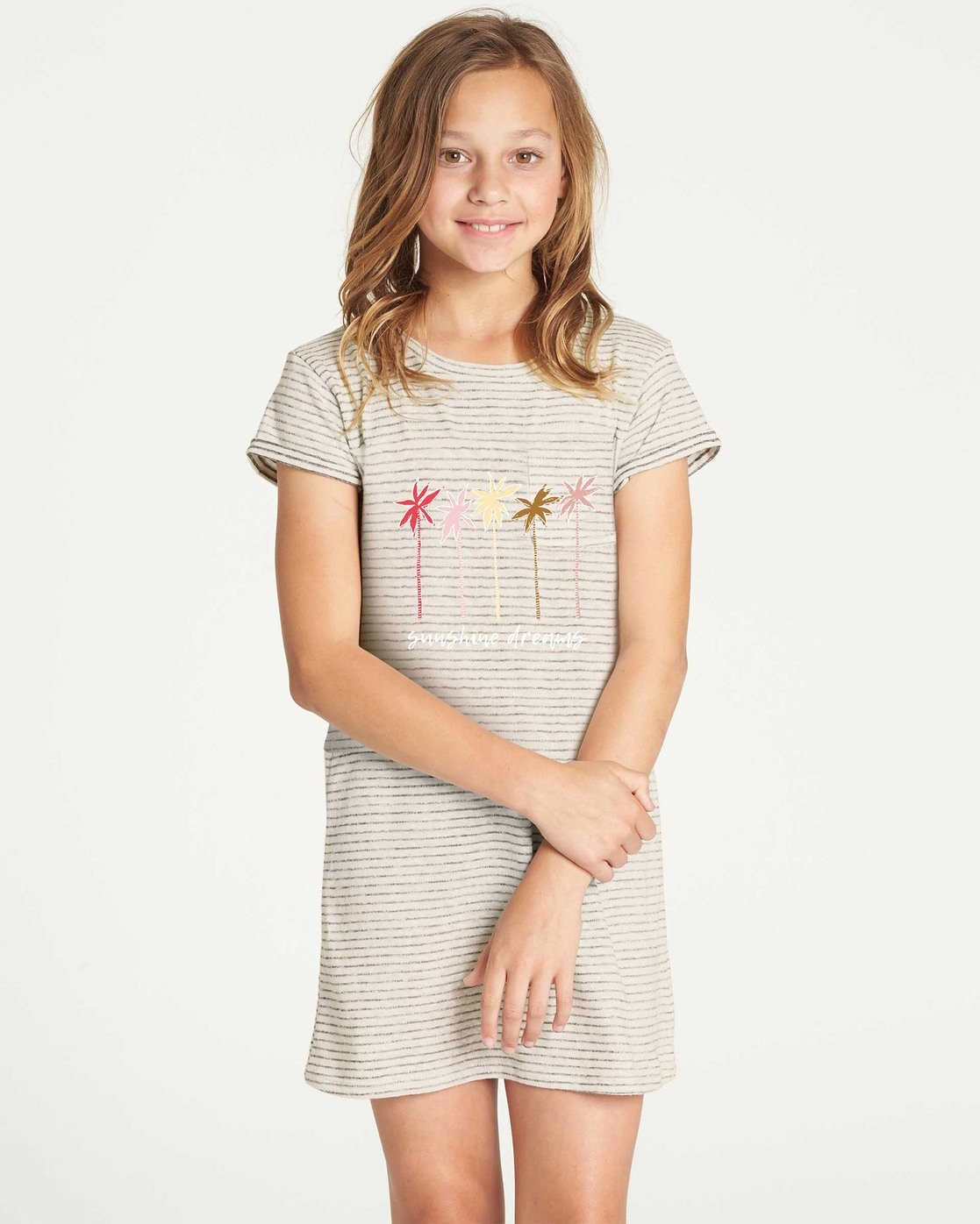37ab16b9126d 0 Girls' Mixed Lines T-Shirt Dress Grey GD03TBMI Billabong