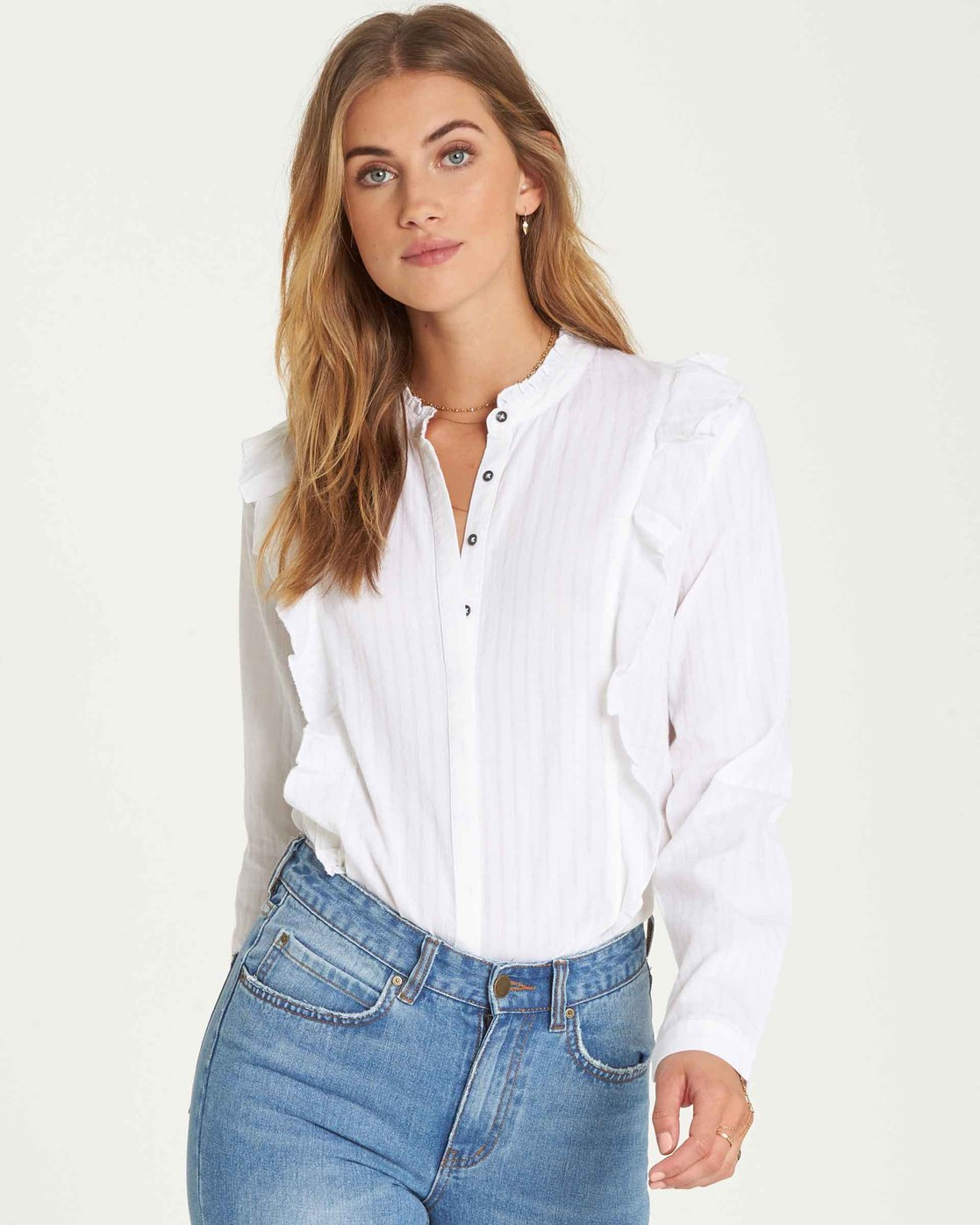 1bfc6fb9 3 Babe Season Button Down Top White J519QBBA Billabong