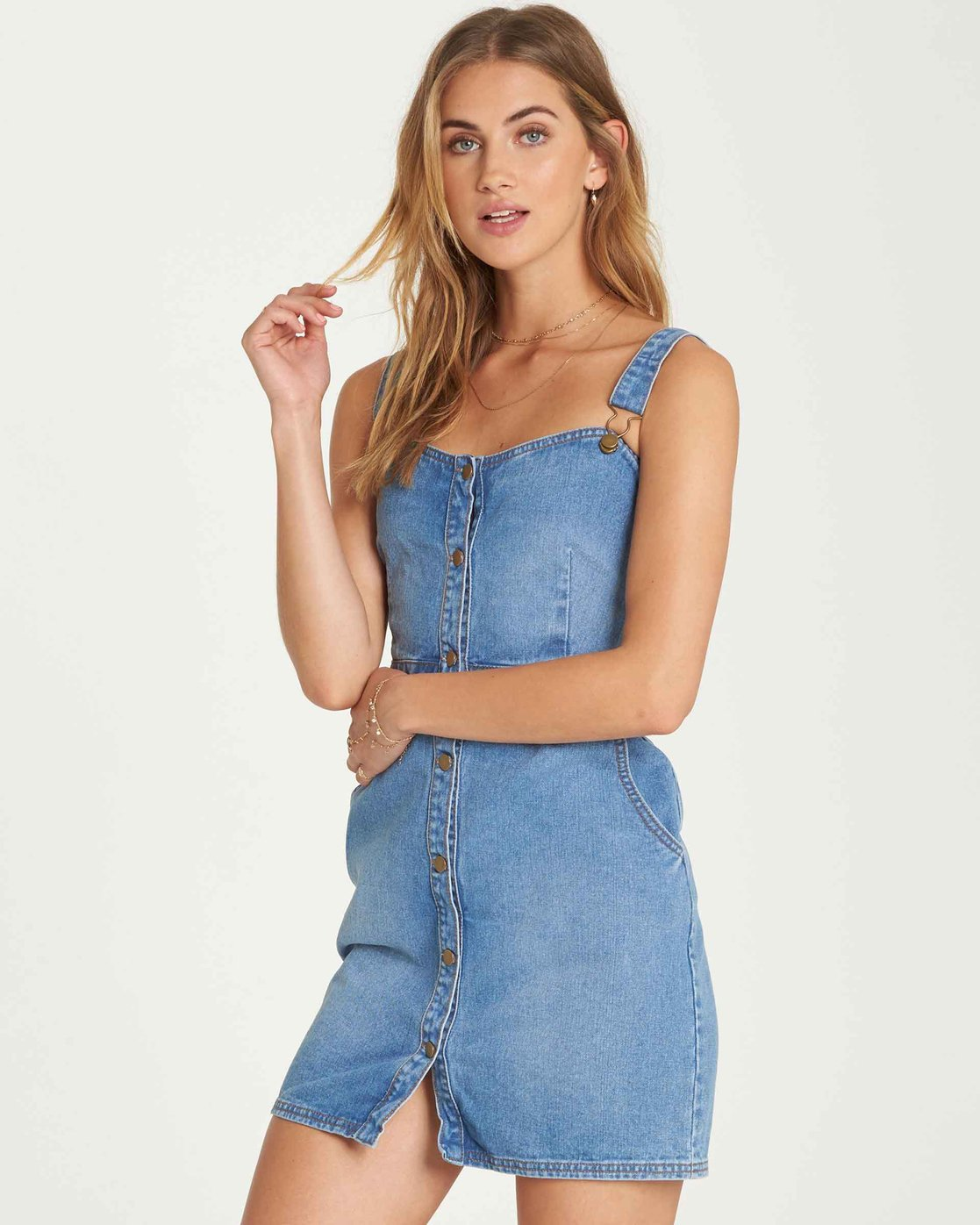 64e3b93096 Coastline Dance Denim Dress JD04QBCO | Billabong