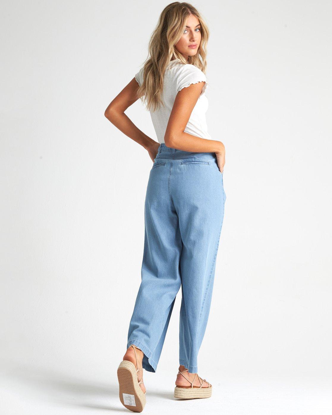 Big Trip Indigo Pantalones De Cambray De Tiro Alto Para Mujer S3pn04bip0 Billabong