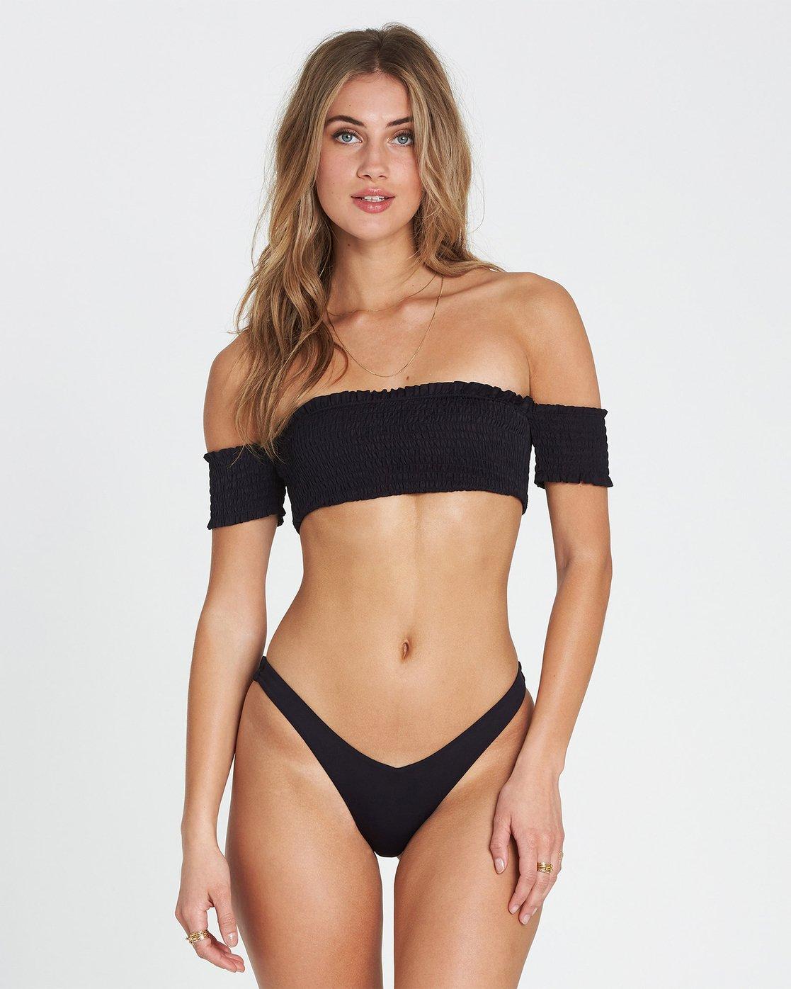 c08be377ad1ba 0 Sol Searcher Off Shoulder Strapless Bikini Top Black XT03SBSO Billabong