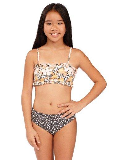1 Girls 6-14 Sweet Dreams Reversible Bandeau Bikini Grey 5513706 Billabong