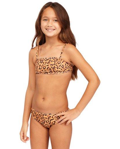 0 Girls' Lil Bit Wild Strappy Tank Bikini Set Beige 5513708 Billabong