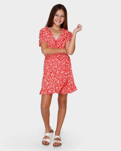 3 TEEN POPPY FLORAL WRAP DRESS Red 5591472 Billabong