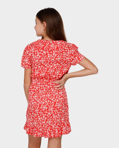 2 TEEN POPPY FLORAL WRAP DRESS Red 5591472 Billabong